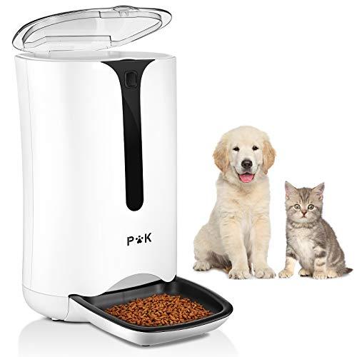 PUPPY KITTY 7L Distributore Di Cibo Per Cani e Gatti, Distributore Automatico Con Display Lcd, Registrabile, Regolare Alimentazione Automatica e Quantitativa, 4 Pasti Al Giorno, Bianco