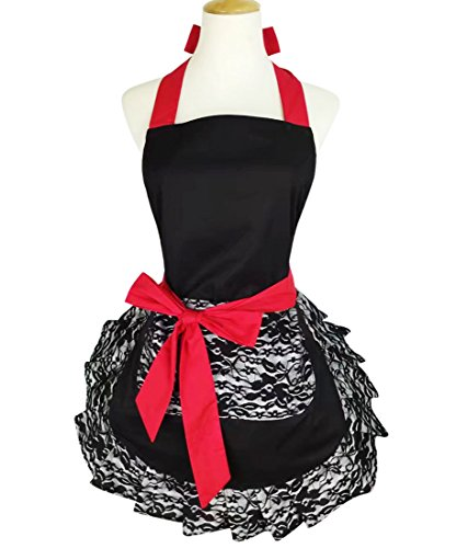 Floosum Black Lace Flirty Apron with Pocket, Fun Retro Sexy Cooking Pinup Aprons for Women Girls