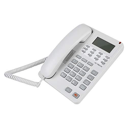 Teléfono Fijo con Cable Teléfono con Manos Libres, DTMF/FSK Teléfono con identificador de Llamadas/Pantalla LCD Teléfono de Sobremesa Escritorio, Cancelación de Ruido para Oficina, Hogar