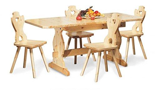 Arredamenti Rustici Table Extensible de réfectoire et 4 chaises en Bois de pin Massif -Couleur Noyer