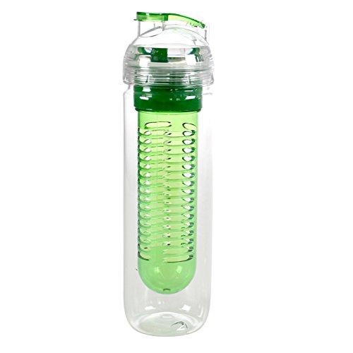 Styletec Trinkflasche/Wasserflasche/Sportflasche mit Fruchtbehälter 0,5 l - transparent (grün)