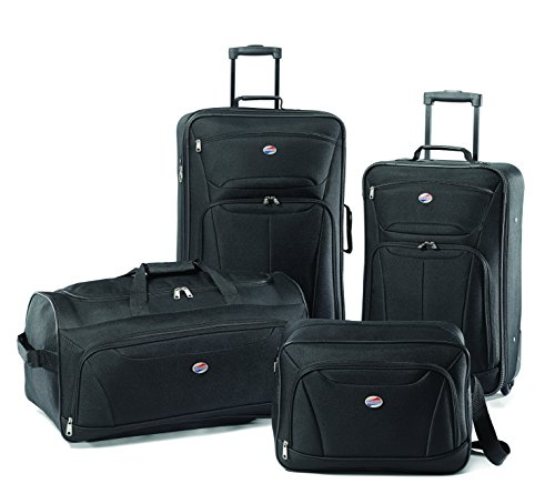 American Tourister Fieldbrook II Softside Upright Luggage Set, Black, 4-Piece (tote/DF/21/25)