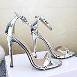 JUSTMAE Sandalias de tacón Alto para Mujer Sandalias con Hebilla Zapatos de Boda Dorados y Plateados Zapatos de Tacones Femeninos