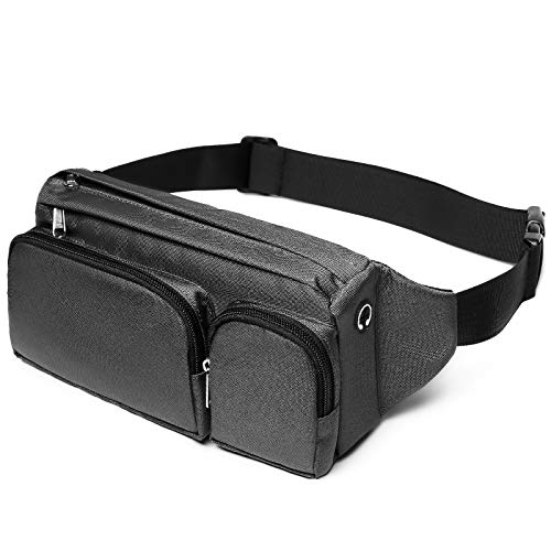 Fanny Pack, Cambond Large Waist Bag for Men Women, Hip Bum Bag with Headphone Jack and Adjustable Strap for Outdoors Workout Traveling Casual Running Hiking Cycling, Grey