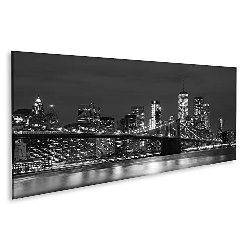 quadri moderni soggiorno dubai Quadro su Tela Ponte di Brooklyn e grattacieli del Centro di New York in Bianco e Nero Stampa Foto Quadri Moderni