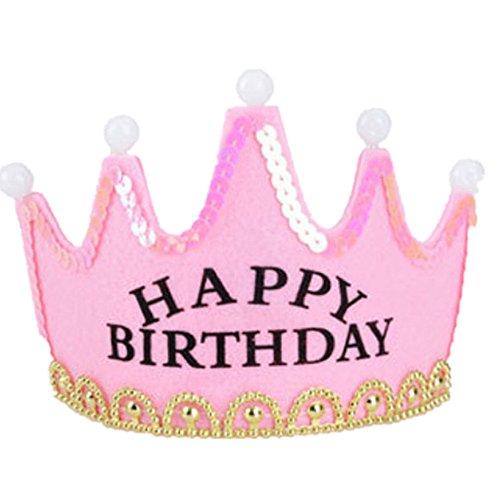 Frcolor Cappello Compleanno Happy Birthday Buon Compleanno Diadema Corona con Luce Led (Rosa)