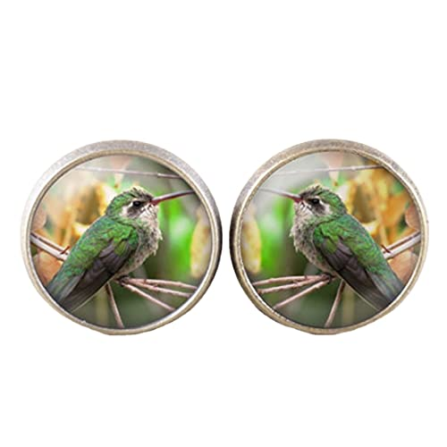Pendientes de colibrí para joyas, pendientes de colibrí, pendientes de pájaro de bronce, pendientes de colibrí, regalo para amantes de las aves, pendientes de tuerca de pájaro
