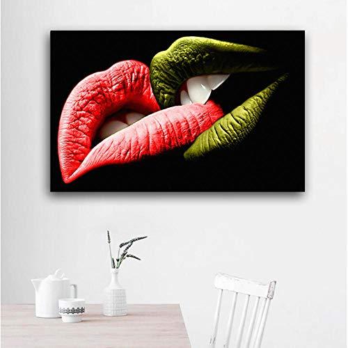 RuYun Moderne kunst canvas schilderij kleurrijke lippen kus wandafbeeldingen voor woonkamer wand kunstdruk poster 30x50CM Kein Rahmen
