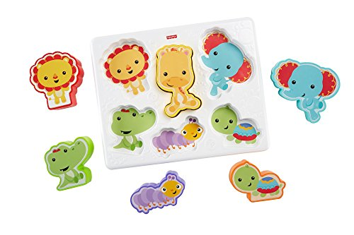 Fisher-Price Casse-tête des animaux, jouet puzzle 2-en-1 avec 6 pièces, pour bébé de 12 à 36 mois, CMY38