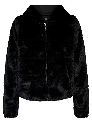 Only Onlchris Fur Hooded Jacket Otw Noos Giacca, Nero (Black Black), Large Donna