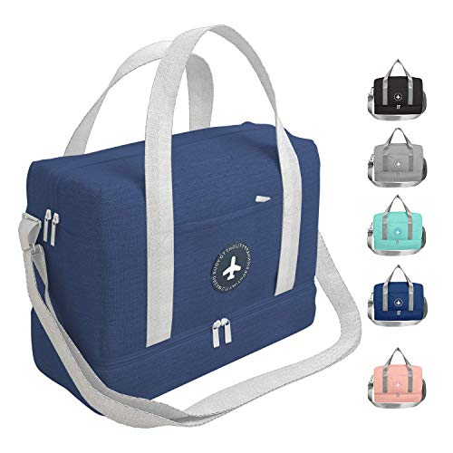 Sportout Gym Bag Duffel Bag,Gym Bag with Shoes Compartment and Ultra Large Wet Pocket,Durable Travel Bag,Yoga Bag for Women for Men, idea for Workout,Swimming,Table Tennis,Dance,Hiking (Dark Blue)