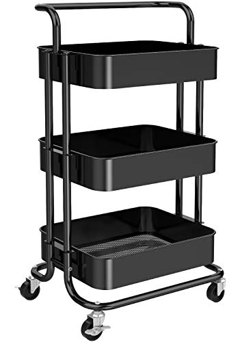 Pipishell 3 Tier Mesh Utility Cart, Rolling Metal Organization Cart with Handle and Lockable Wheels, Multifunctional Storage Shelves for Kitchen Living Room Office, Black