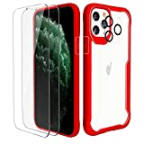 ORETech Cover per iPhone 11 Pro, Custodia iPhone 11 Pro(5,8 Pollici), con [2 x Pellicola Protettiva in Vetro Temperato & 1 x Pellicola Fotocamera] Antiurto Ultra Sottile Hard PC Silicone Cover- Rosso