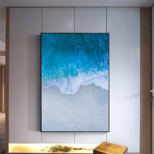 KWzEQ Seaside Beach Seascape Ocean Sunset Poster Estilo nórdico decoración de la habitación de los niños Sala de Estar Art Deco,Pintura sin Marco,80X120cm