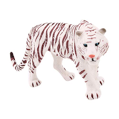 TOYANDONA Miniatuur Mannelijke Tijger Beeldjes Ornamenten Solide Dieren in Het Wild Model Bos Feestartikelen Voor Fee Tuintafel Home Decoraties Kinderen Speelgoed Wit