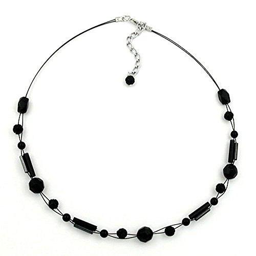Halskette Kette Schliff-und Blumenperle schwarz 43cm 02509