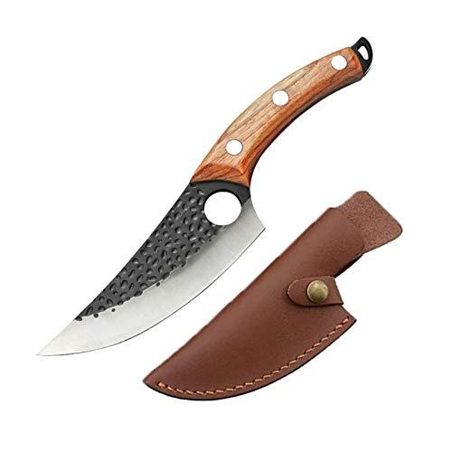 DRENTHE Ausbeinmesser 5,5-Zoll-Küchenmesser, Kochmesser mit Lederscheide/Serbisch handgeschmiedet, für Zuhause Kochutensilien (Stil : Konkavmusters)