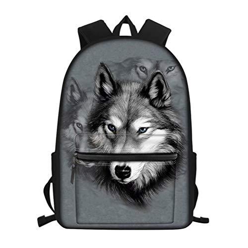 Nopersonality Kinder-Schulrucksack mit süßem Hund, Katze, Faultierball-Druck, Schultertasche, Büchertasche, Tagesrucksack, Grauer Wolf (Grau) - Nopersonality