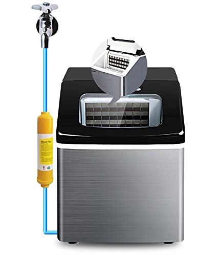 Encimera Silenciosa Fabricador de hielo, Máquina para Hacer Hielo inoxidable con Pantalla LCD, Control táctil Máquina de hielo con cuchara.