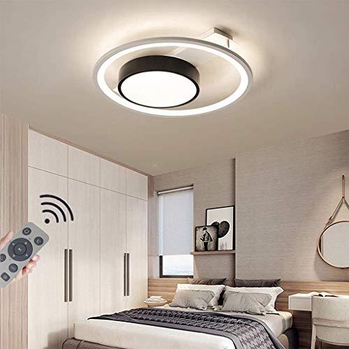 Moderne ronde led-plafondlamp, dimbaar met verwijderbare acryl-ijzeren plafondlamp Creative 2 ringen plafondverlichting voor keuken slaapkamer balkon woonkamer kroonluchter [energieklasse A ++], 50cm / 45W