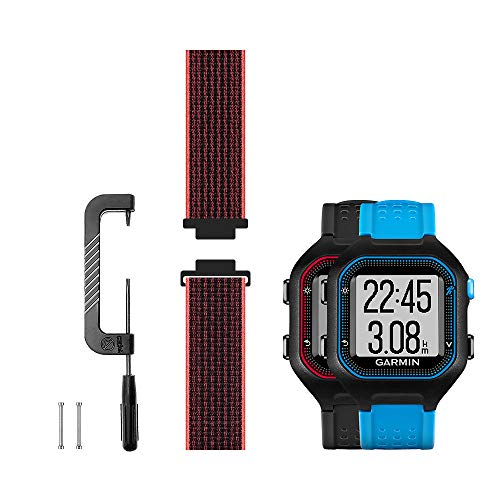 Leiou Woven Nylon Strap Compatible with Garmin Forerunner 25 Band Replacement Sport Mesh Watchband, Works with Large Version Watch, Black/Pink
