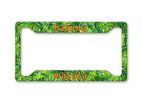 Hakuna Matata Bright Realistic Tropical Palm Leaves All Over Pattern Print,Disney Inspired Aluminum License Plate Frame Covers,License Tag Holder Auto Tag Car Accessories New Car Gift 6' X 12'