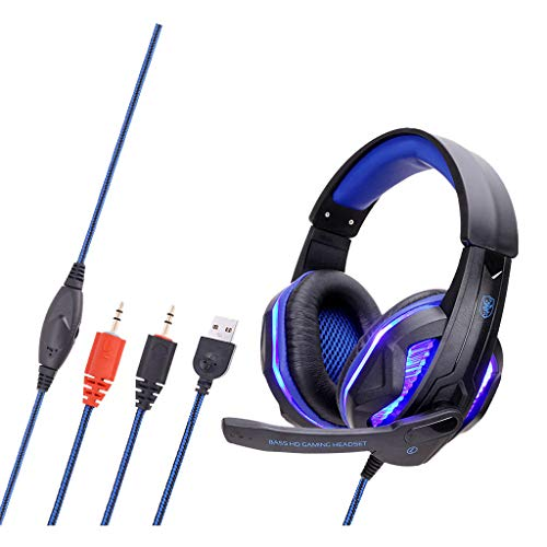 Ouniman Gaming Headset with Noise Canceling Mic, Compatible with N-Switch, PS4, Xbox One, Laptops, Tablet, Stereo Headphone with Crystal 3D Gaming Sound, Memory Foam Earpad, LED Light Dining Features Kitchen Washcloths