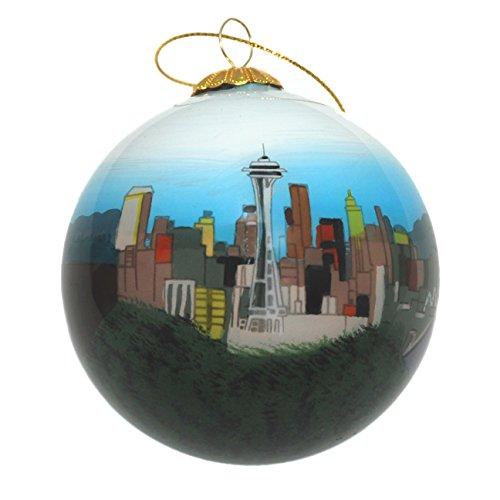 Hand Painted Glass Christmas Ornament - Seattle, Washington Skyline Day