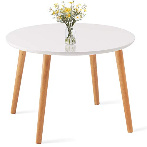 TaoHFE Coffee Table, Round Coffee Table White for Living Room