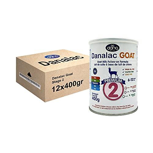 DANALAC PREMIUM Lait bébé avancé Lait de Suite à base de lait de Chèvre 2ème âge Lait en poudre pour nourrissons et bébés âge 6 à 12 mois - Formule EU-2020 400g (400 g Lot de Boîtes de 12)