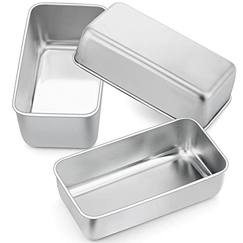 Joyfair - Juego de 3 moldes de acero inoxidable para pan tostadas, molde para pan / pasteles / tostadas, 23 cm x 12 cm x 6 cm, saludable y no tóxico, fácil de desmoldar y apto para lavavajillas