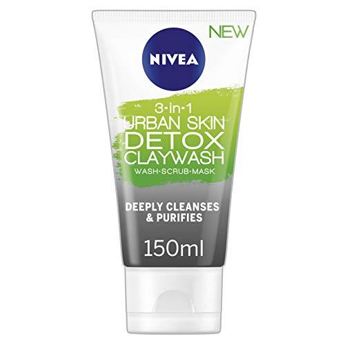 Nivea 3-in-1 Urban Skin Detox Clay Wash, 150 ml, ontgiftend gezichtsmasker voor alle huidtypes, gezichtsreiniging, natuurlijke kleimasker met zwarte rijst en groene thee-extract.
