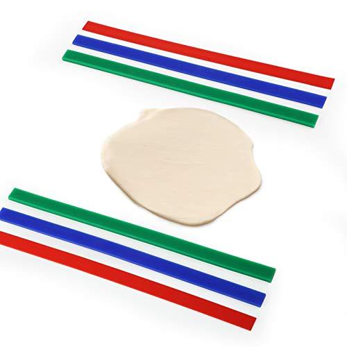 GWHOLE 6pz Strisce Mattarello Regolabile Con Spessori Silicone, Set Di Guide Per Impasto Antiscivolo Antiaderente Biscotti 3 Altezza Distanziatori Professionale Pasticceria Pizza (2, 4, 6 mm)