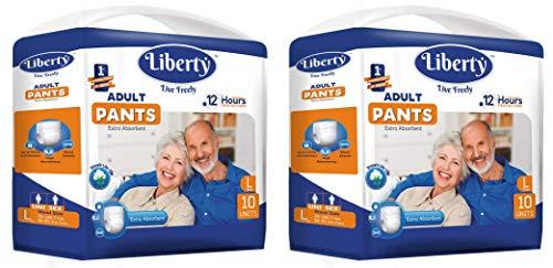 Liberty Premium Adult Diaper Pants Unisex, Large 2x10 Pcs, Waist Size (75-100 cm | 30-39 Inches) (Pack of 2)