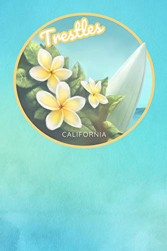 Trestles California: Cute White and Yellow Frangipani Plumeria Surfing Beach And Surfboard 2019-2020 Planner Journal Notebook - 105 Pages 6 x 9 inches Log Book