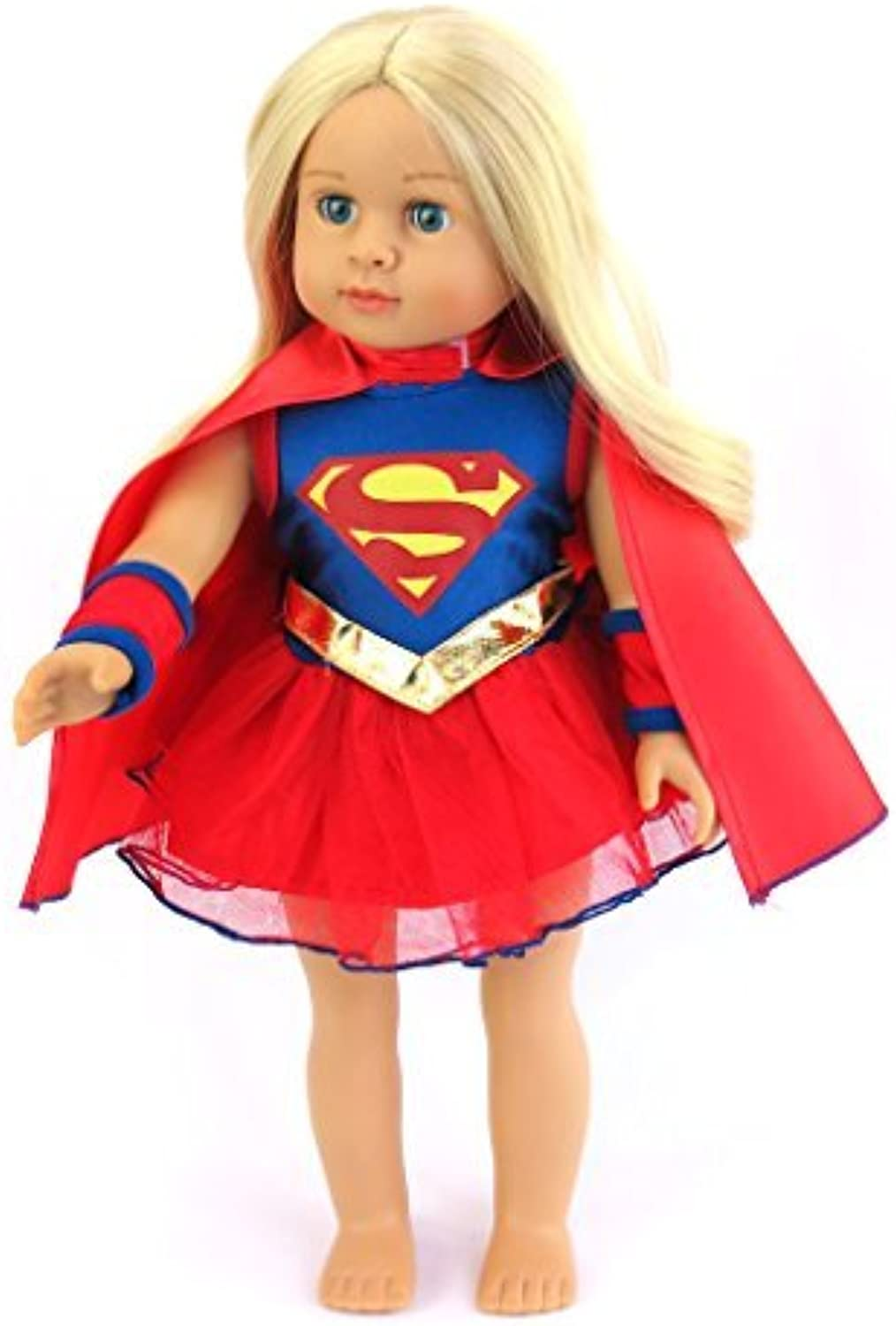 18 Inch Doll Clothes  Super Girl Costume Fits 18 American Girl Dolls, Madame Alexander, Our Generation, etc. Great Quality  Beautiful Fabrics DOLL NOT INCLUDED by American Fashion World