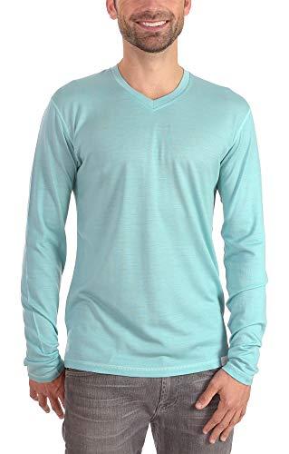 Woolly Clothing Men's Merino Wool V-Neck Long Sleeve Shirt - Ultralight - Wicking Breathable Anti-Odor S MRN