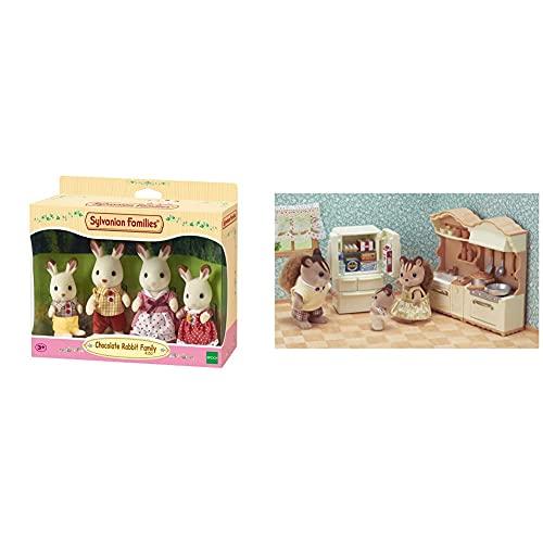 Sylvanian Families 4150 Familia Conejo Chocolate + 5341 Set De Cocina