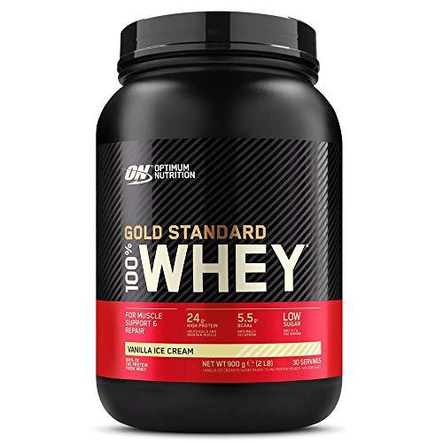 Optimum Nutrition Gold Standard 100% Whey Proteína en Polvo, Glutamina y Aminoácidos Naturales, BCAA, Helado de Vainilla, 30 Porciones, 900g, Embalaje Puede Variar