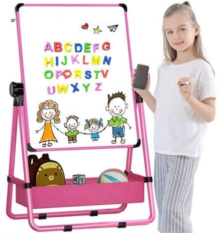 Arkmiido Pizarra Infantil Caballete para niños, Pizarra Magnetica Infantil, Pizarra Blanca y Pizarra con Soporte Ajustable y Giro 360 Grados y Letras y Números Magnéticos de Bonificación (Rosa