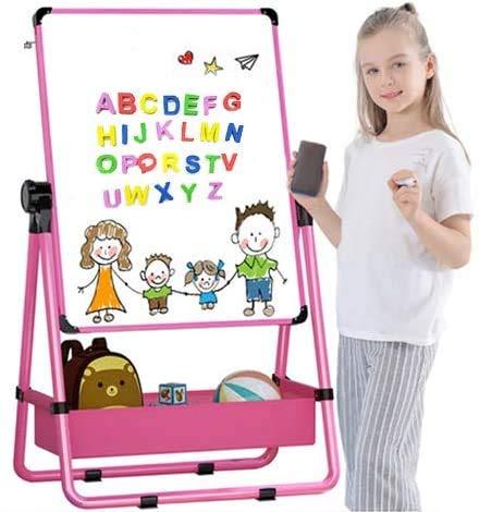 Kinder Staffelei Doppelseitiges Staffelei für Kinder Whiteboard & Tafel Kindertafel mit Verstellbaren Ständer & Drehen 360 Grad & Bonus Magnetische Buchstaben und Zahlen