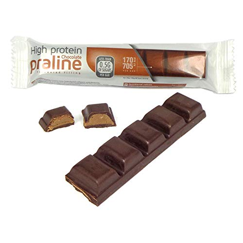 Billy's Diet | 5 x Praline High Protein Chocolate Bars | Low Sugar - Low Calorie - Low Carb - High Fibre | Only 170 Calories per bar