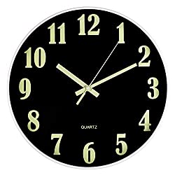 Luminous Wall Clock, Large Classic Numerals Silent Non-Ticking Battery Operated, Modern Decorative Clock for Living/Dining/Kids Bedroom/Kitchen (12 Inch Black)