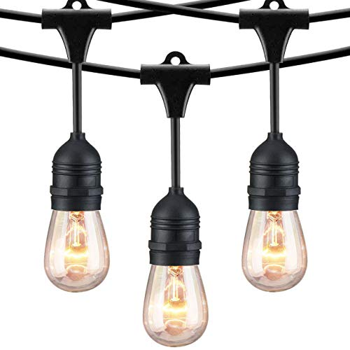 Mpow Ambience Add Outdoor String, 49Ft Commercial Globe Lights with 15 Vintage Dimmable Bulbs, Waterproof Heavy Duty, Connectable Edison, Patio Porch Garden Deck Cafe UL Listed