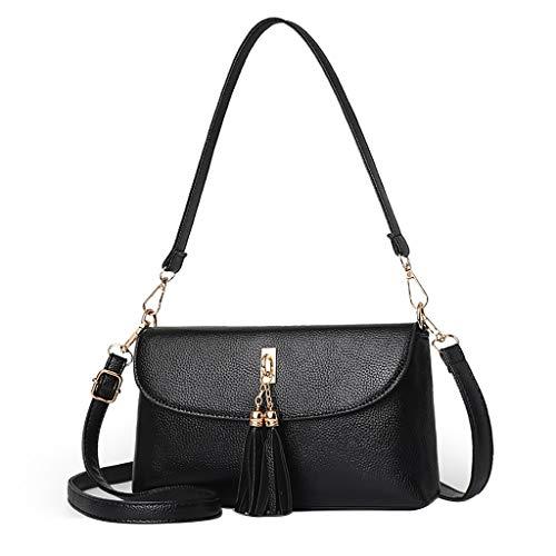 TAMALLU Damen Umhängetaschen Kleine Damen Umhängetasche Quasten Umhängetasche Taschen(Schwarz)