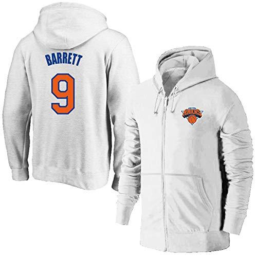 CAISHEN Herren Frauen Basketball Reißverschlussjacke Hoodie Sweater New York Knicks 9# Barrett Basketball Jacke Hoody Sweatshirt