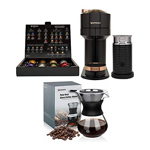 Nespresso ENV120BAE Vertuo Next Coffee and Espresso Machine with Aeroccino Bundle with 14 oz Pour Over Coffee Maker Set (2 Items)
