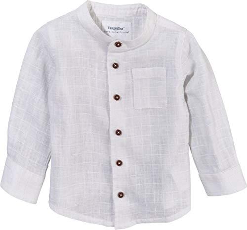 LUPILU PURE COLLECTION Baby Jungen Hemd Leinenhemd, Langarm (weiß, Gr. 92)