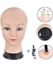 ErSiMan Cabeza profesional de maniquí de cosmetología femenina, cabeza de maniquí calvo para hacer pelucas, exhibición de sombrero, exhibición de gafas, cabeza de muñeca con abrazadera