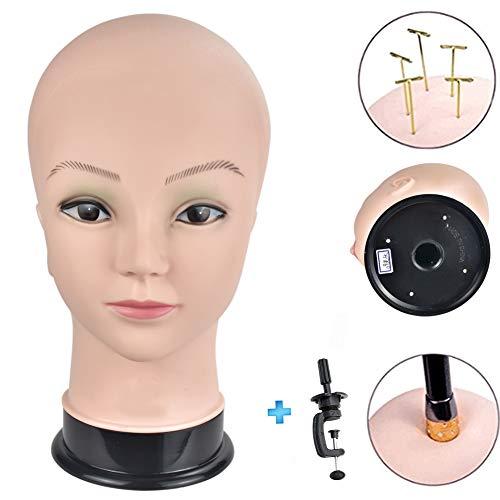 Ersiman professionale femmina testa di manichino Calvo testa di manichino per parrucche making WIG display Hat display occhiali display parrucchieri bambola testa con morsetto